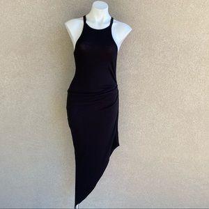 Asymmetrical Rushed Side Bodycon Jersey Dress
